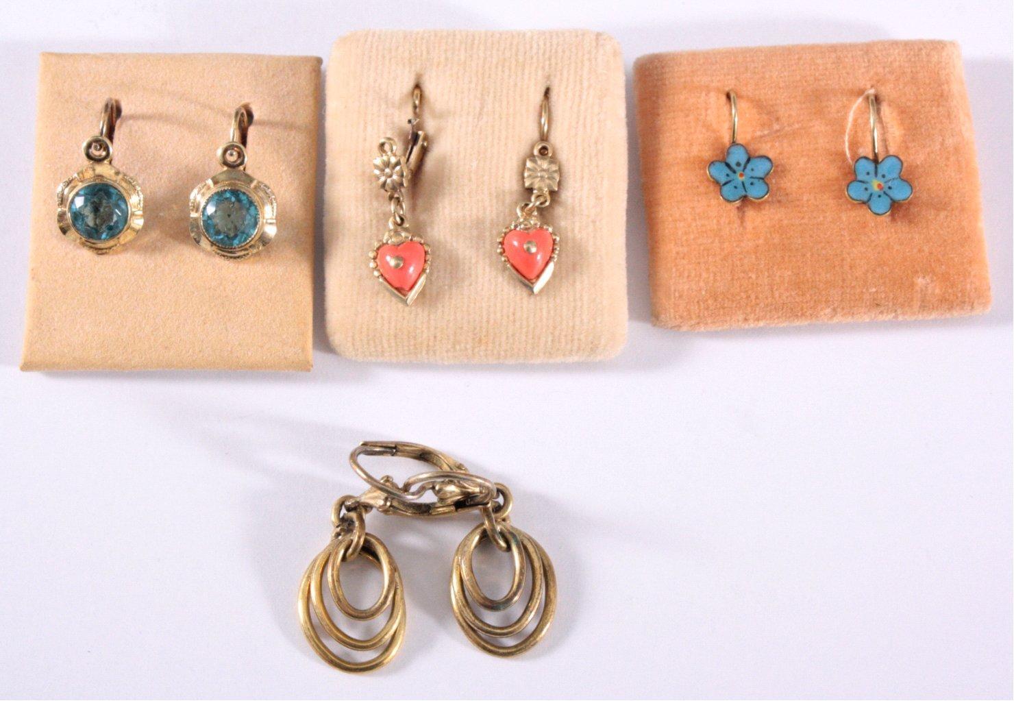 Antike Ohrringe um 1900, Silberbügel, vergoldet