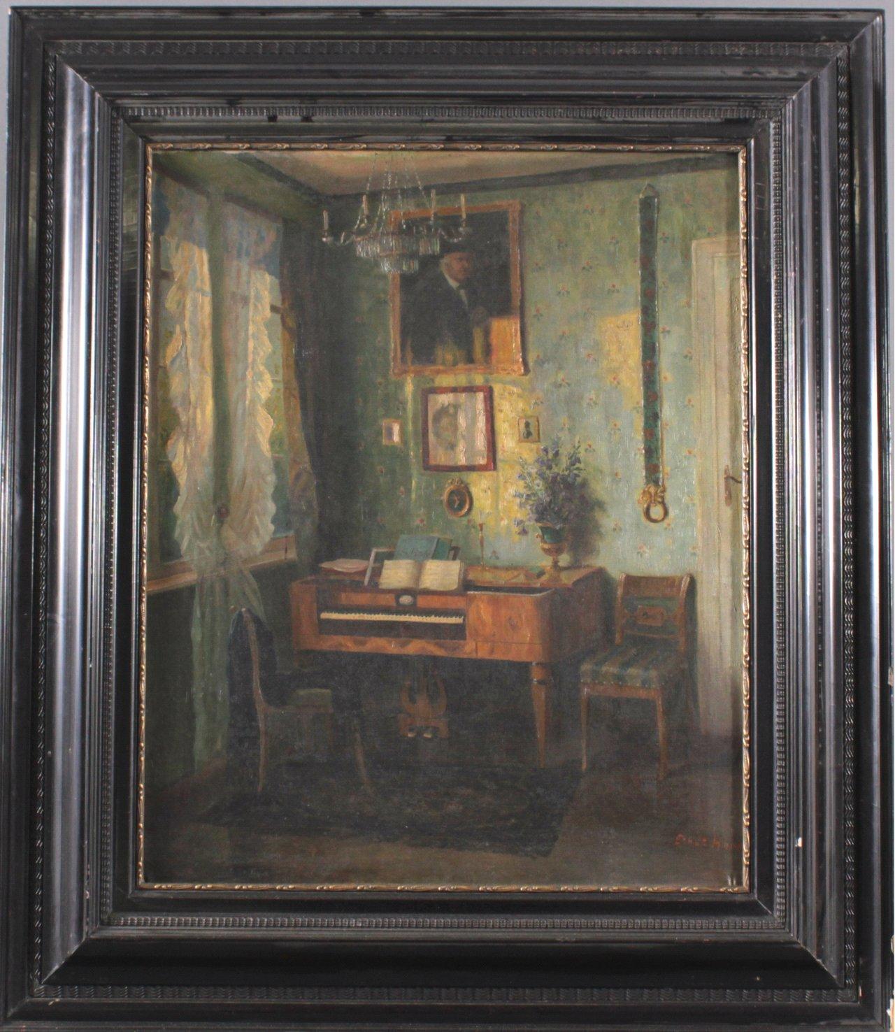 Ernst Horst (1875-?), Biedermeier-Interieur mit Spinett