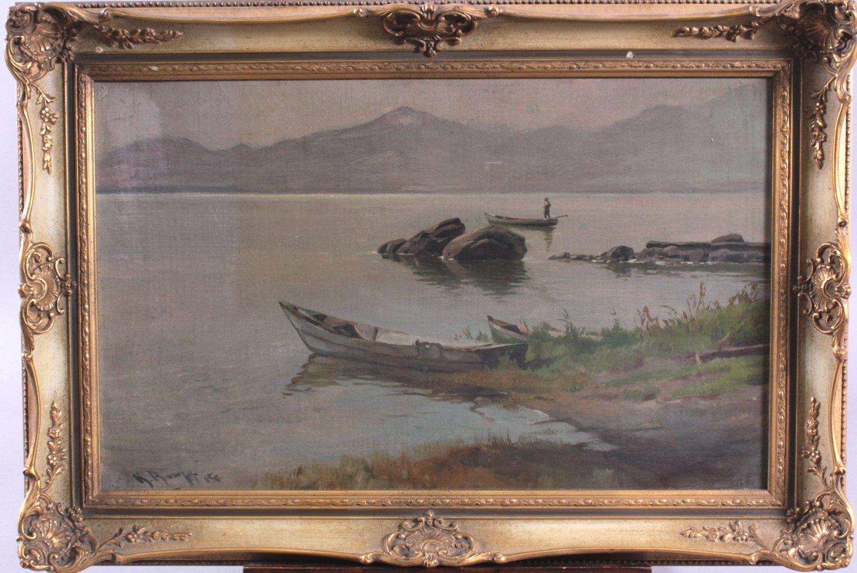 Sommerliche Flußlandschaft mit Angler im Boot