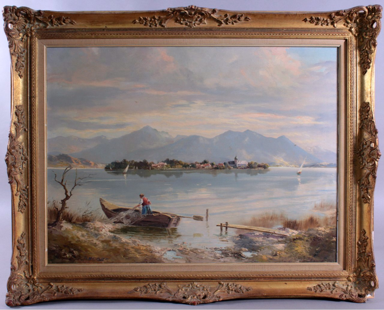 Berger ?-?. Fraueninsel im Chiemsee mit Fischerin