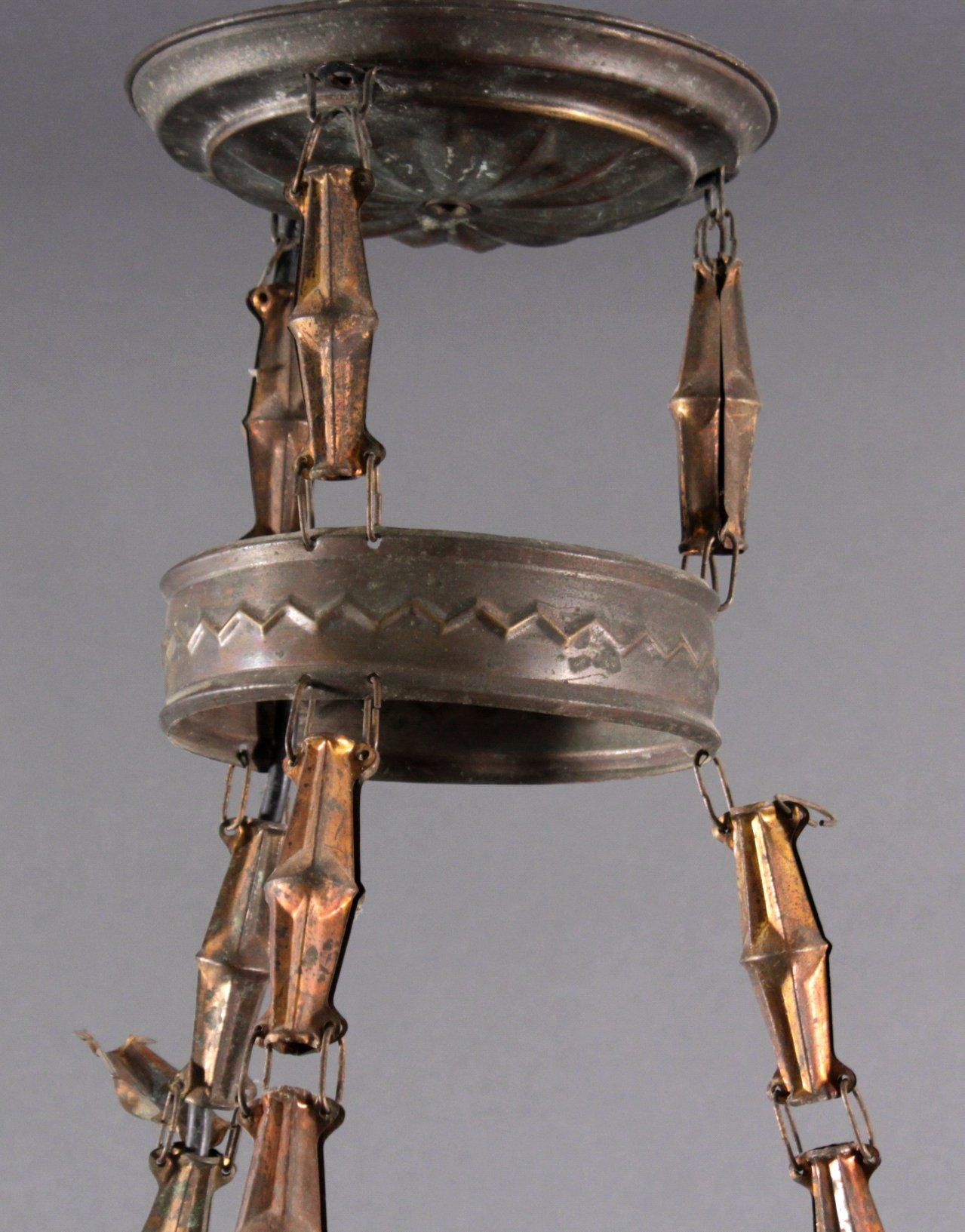 Deckenlampe um 1900 mit Milchglasschirm-2