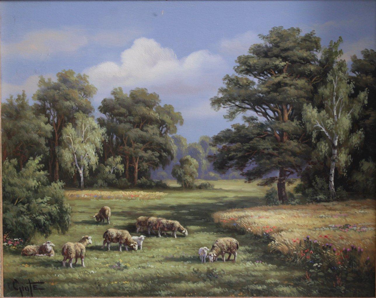 Erich Graf ?-?, Schafe auf der Weide