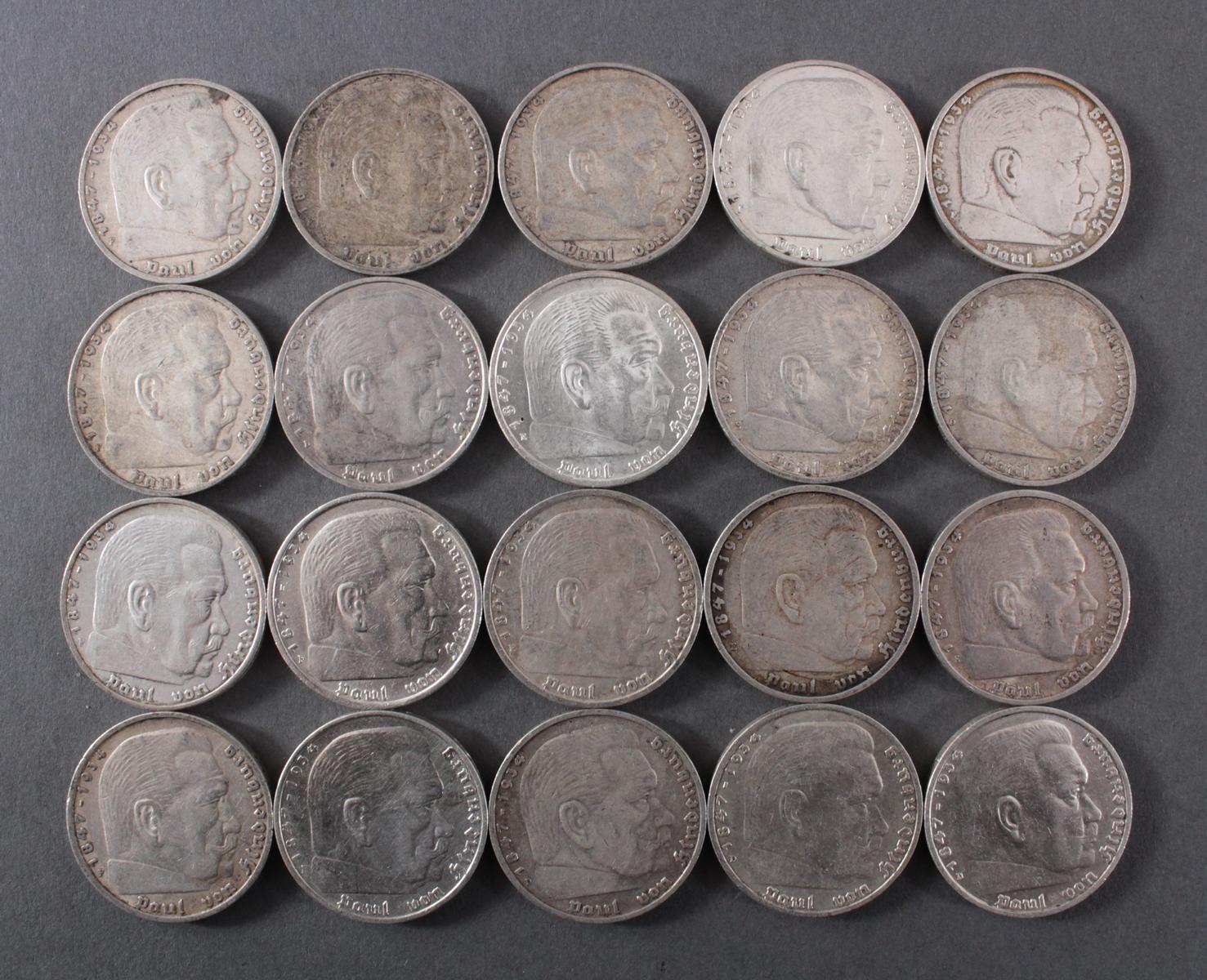 Deutsches Reich, 20x 5 Reichsmark 1935/36 Hindenburg