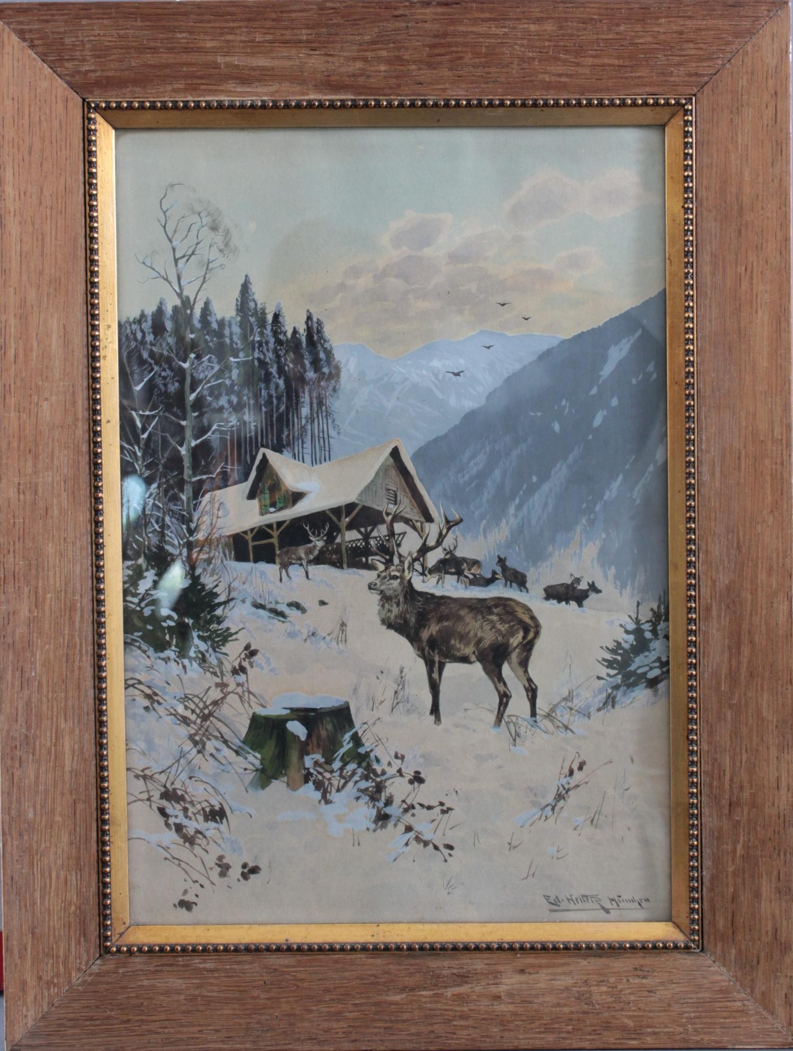 Eduard Heller 1852 – ? 'Rotwild bei der Fütterung'