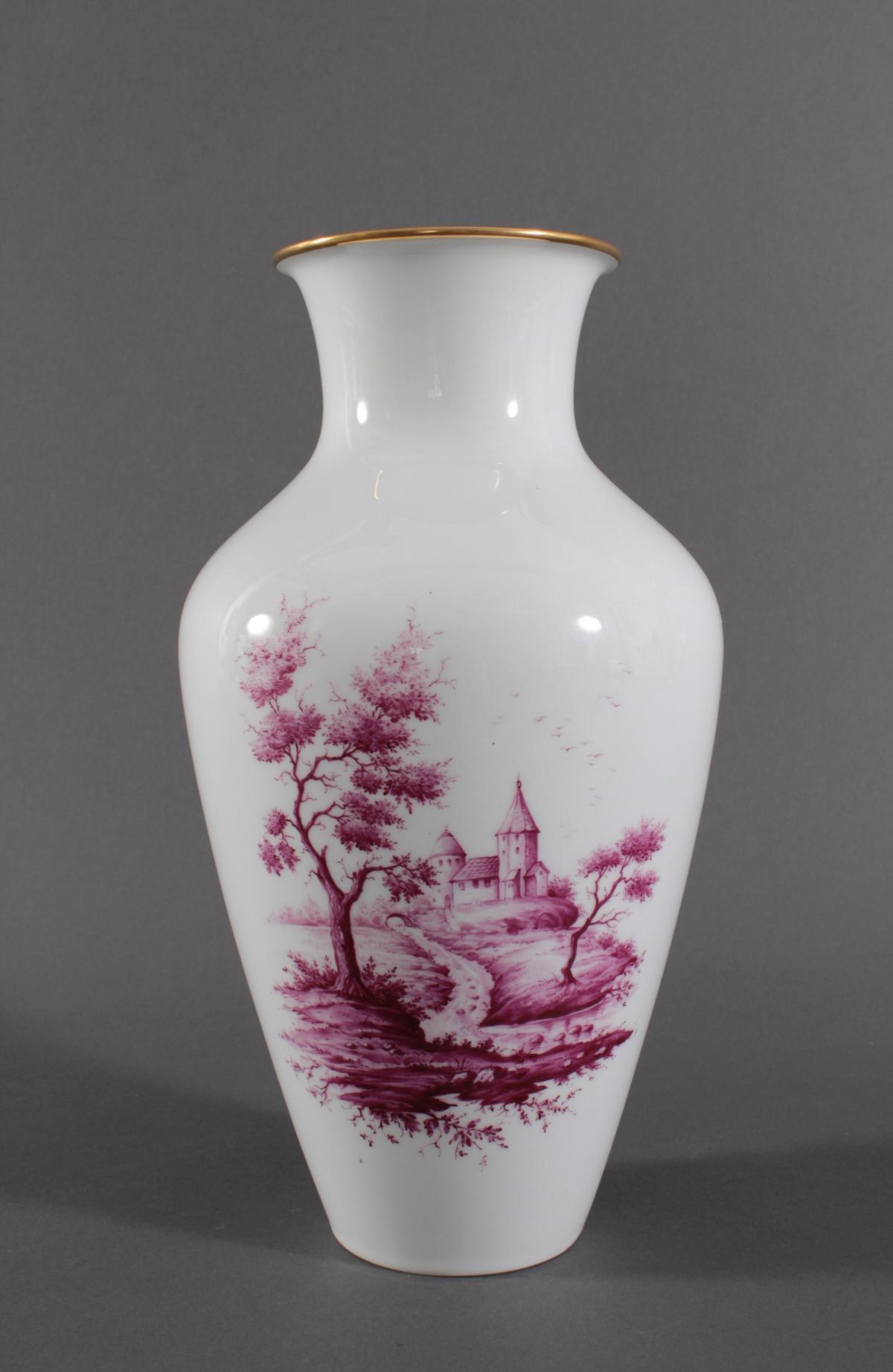 Große Vase, Höchster Porzellanmanufaktur, Malersignatur Kurt Schröder