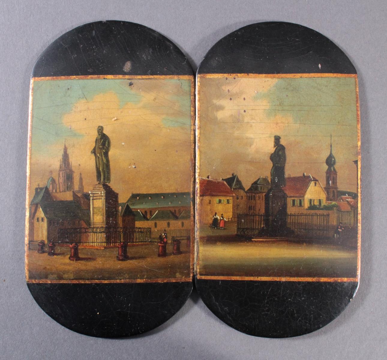 Bemalte Deckel wohl Stobwasser, Braunschweig, 19. Jahrhundert