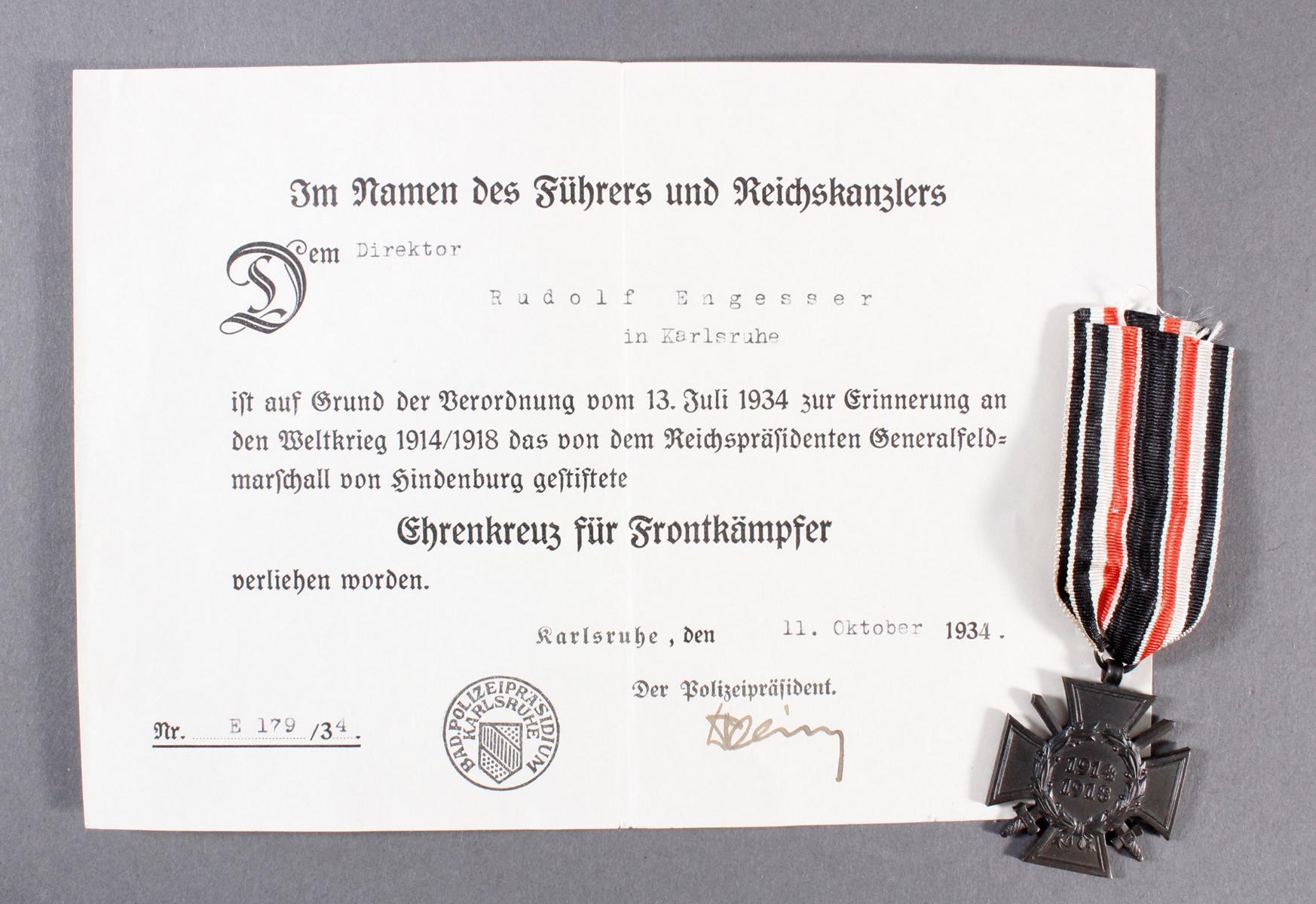Ehrenkreuz für Frontkämpfer am Band mit Verleihungsurkunde vom 11.Oktober 1934