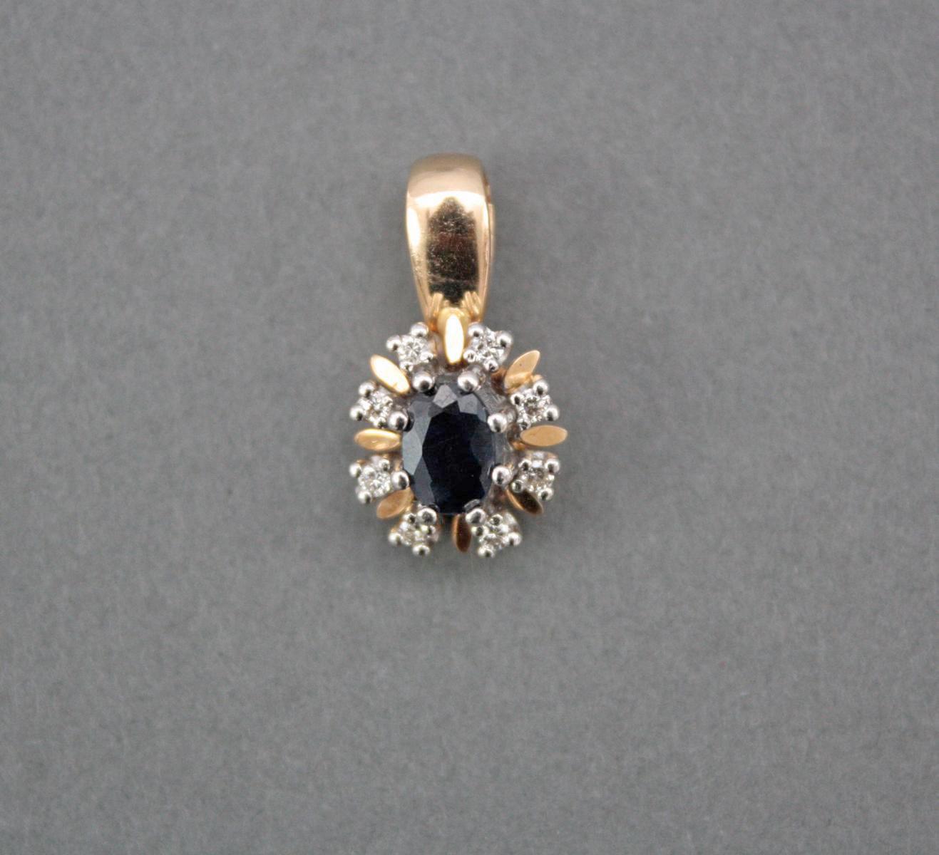 Anhänger mit Saphir und Diamanten, 14 Karat Gelbgold