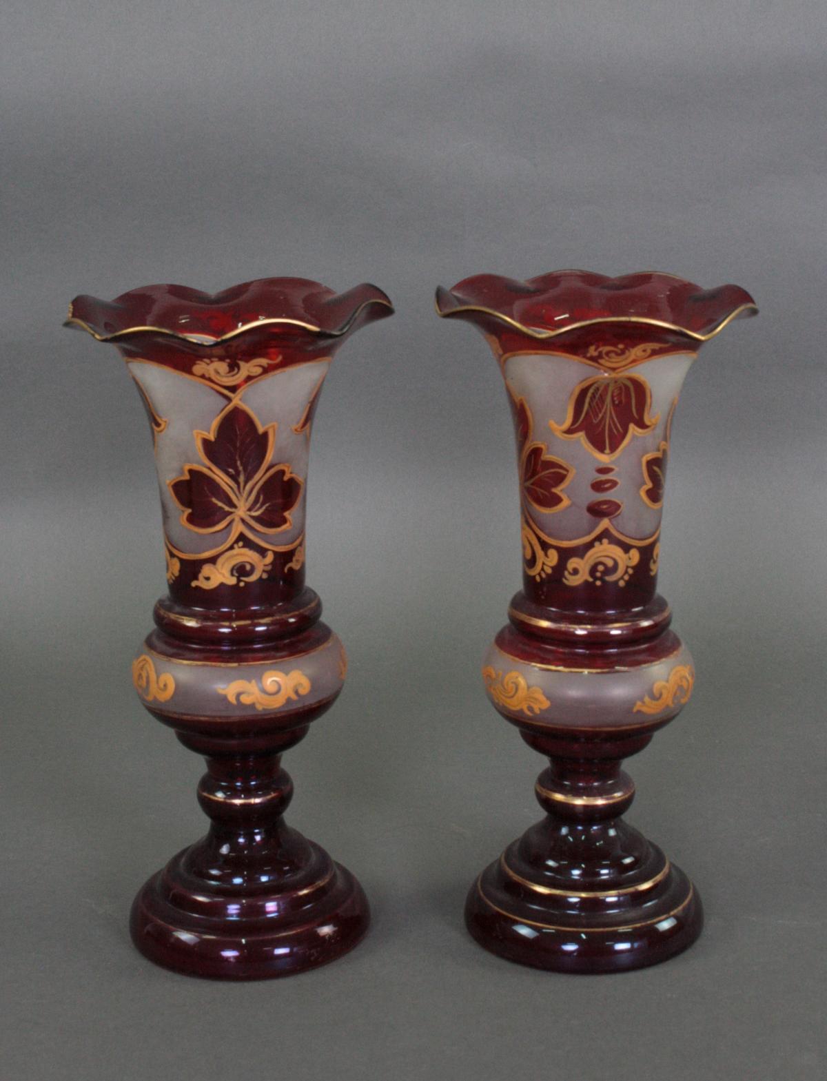 Paar Biedermeier Glas Vasen