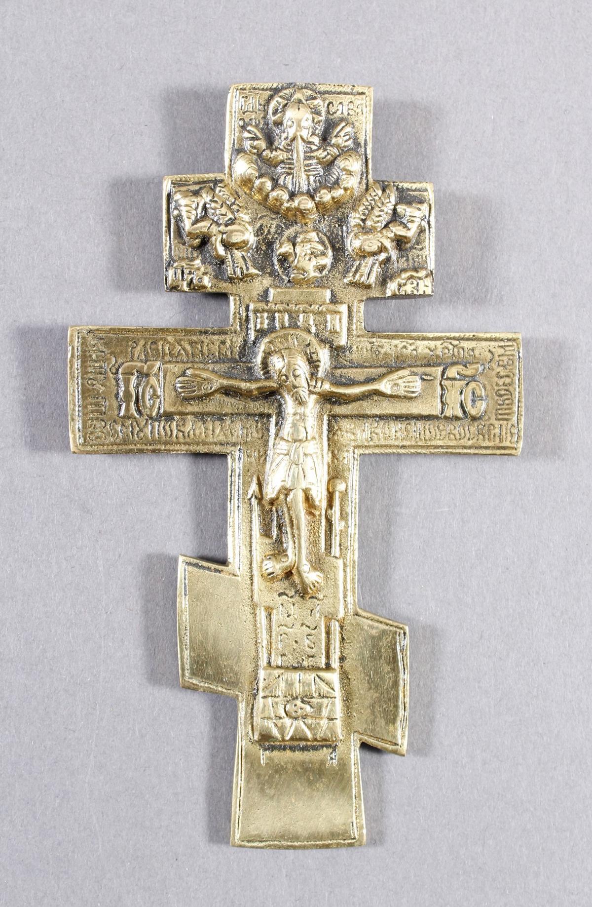 Kleines Messing Vorhaltekreuz, Russland 20. Jahrhundert