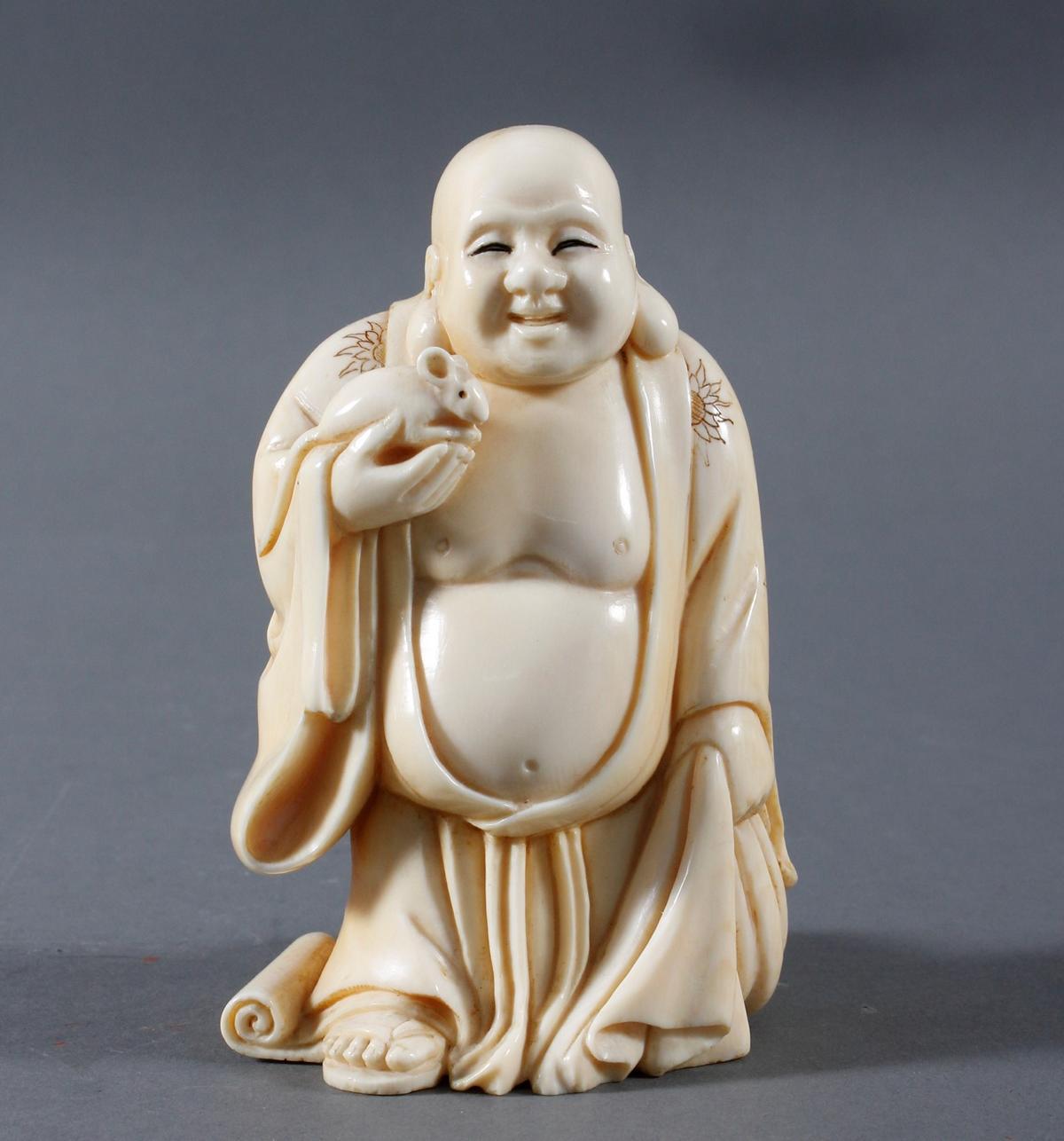 Glücksbuddha aus Elfenbein-China Anfang 20. Jahrhundert