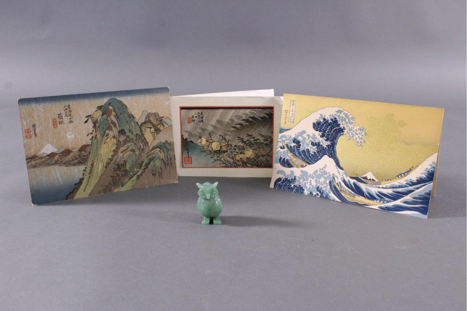 Jadeeule und Japanische Kunstdrucke