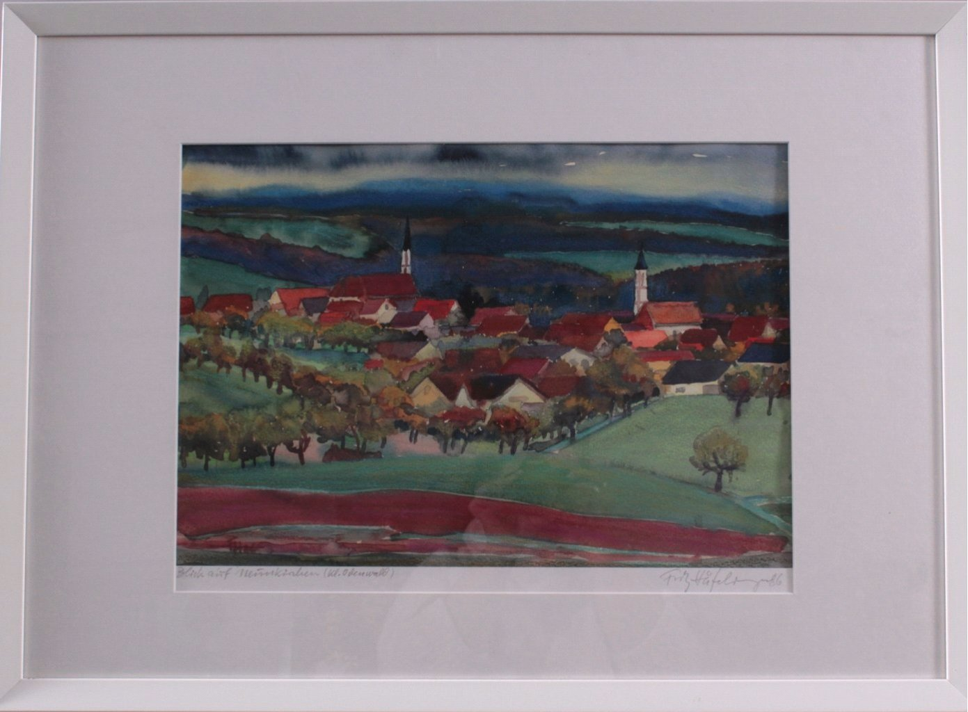 Aquarell. Blick auf Neunkirchen (kl. Odenwald)