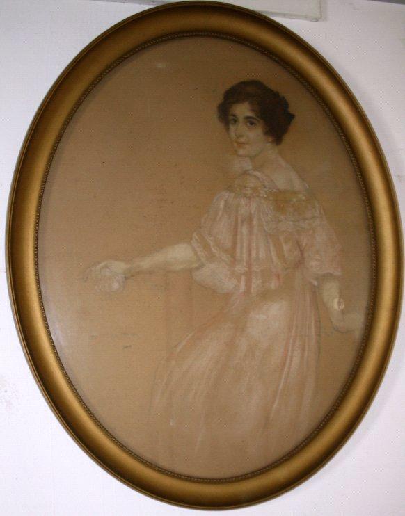 """Alexander Frenz (1861-1941), """"Dame mit weißer Rose"""""""