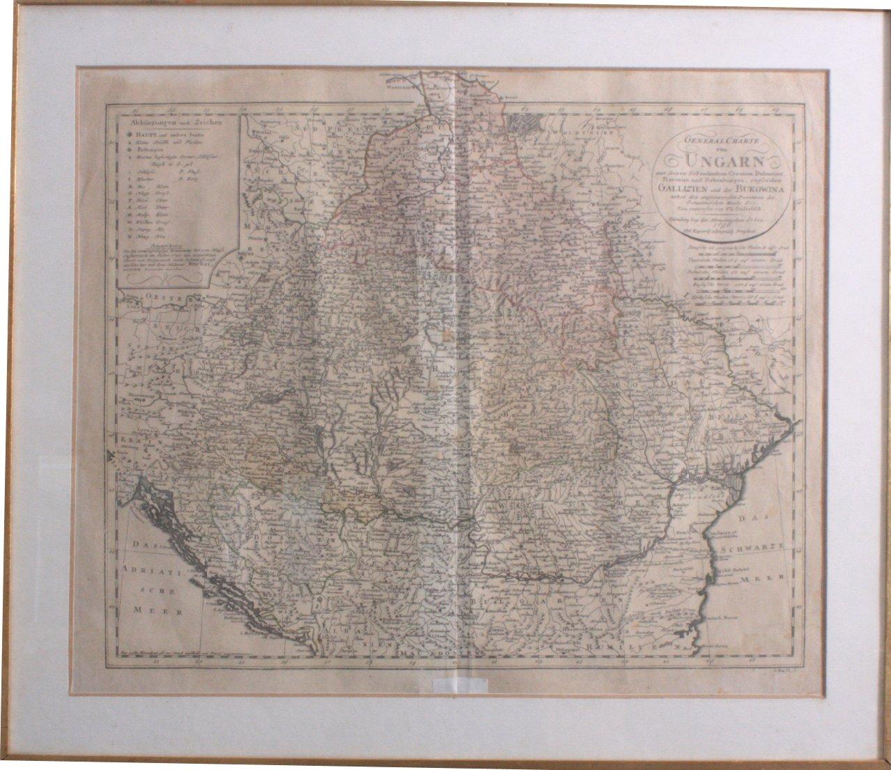 Altkolorierte Kupferstichkarte Ungarn von 1796