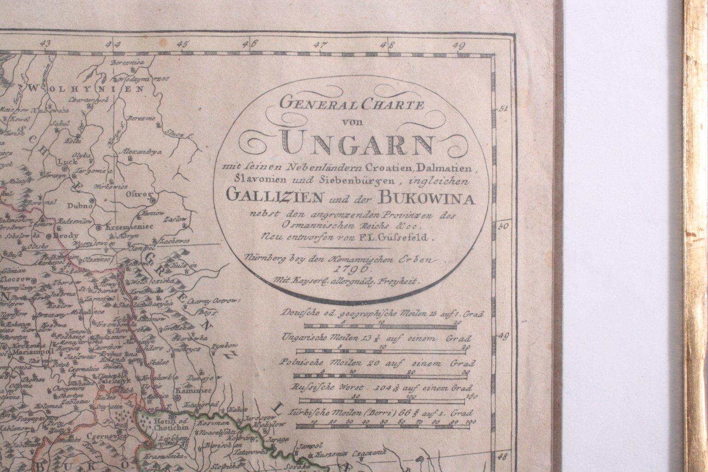 Altkolorierte Kupferstichkarte Ungarn von 1796-1