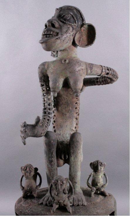 Große Bronze-Skulptur, wohl Elfenbeinküste, 1. Hälfte 20. Jh-1