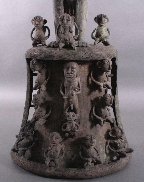 Große Bronze-Skulptur, wohl Elfenbeinküste, 1. Hälfte 20. Jh-2