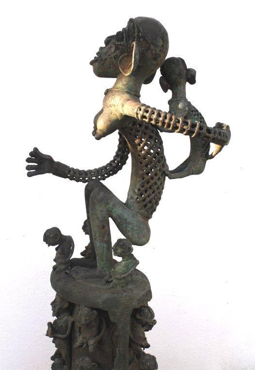 Große Bronze-Skulptur, wohl Elfenbeinküste, 1. Hälfte 20. Jh-3
