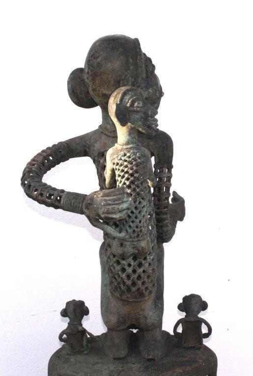 Große Bronze-Skulptur, wohl Elfenbeinküste, 1. Hälfte 20. Jh-4