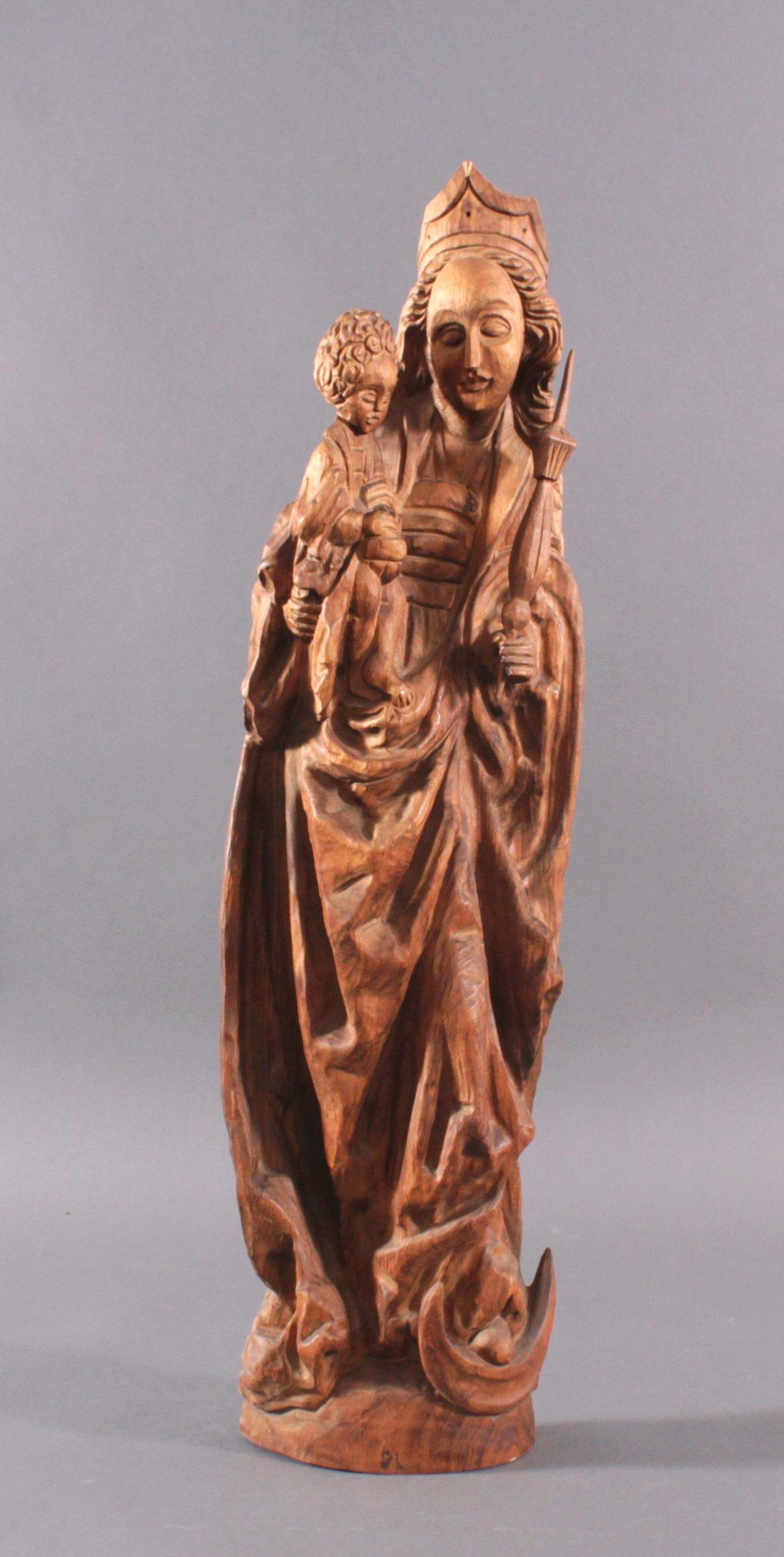Holzskulptur, Madonna mit Kind und Zepter