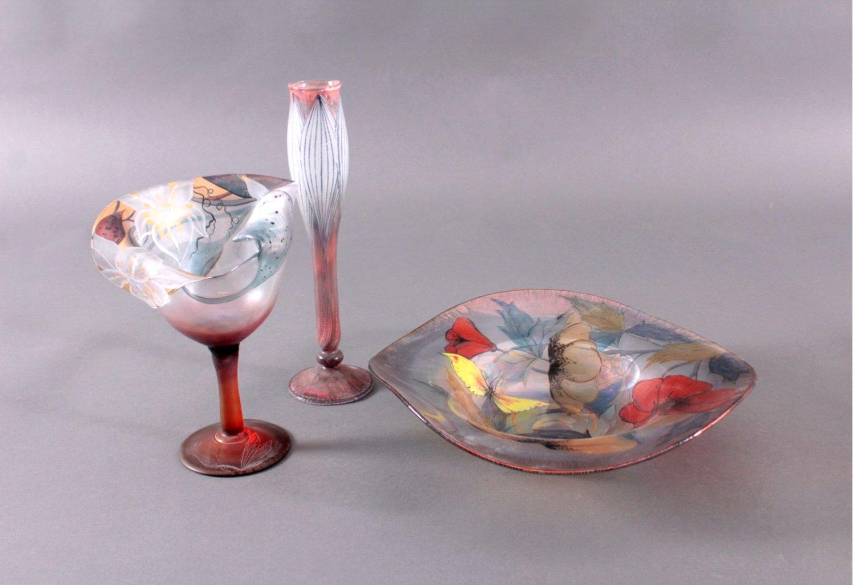 Glas Objekte, 3 Stück