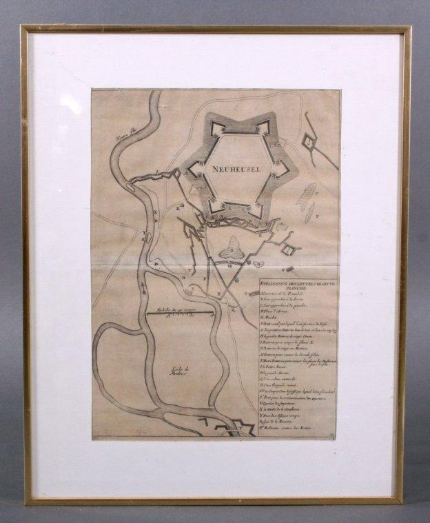 Neuheusel an der Neutra/Ungarn. Kupferstich von 1735