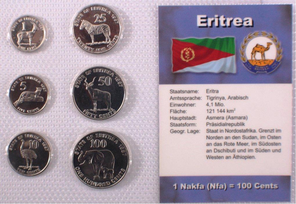 Kursmünzensatz Eritrea, Nakfa, Cents