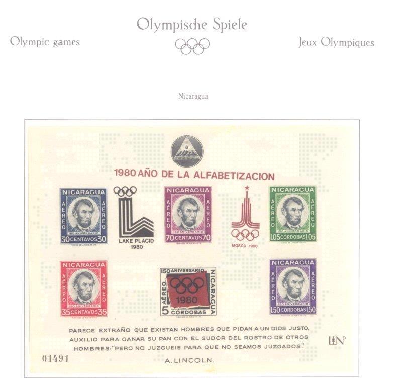 MOTIV OLYMPIADE 1980, mit interessanter BLOCK ABART!-1