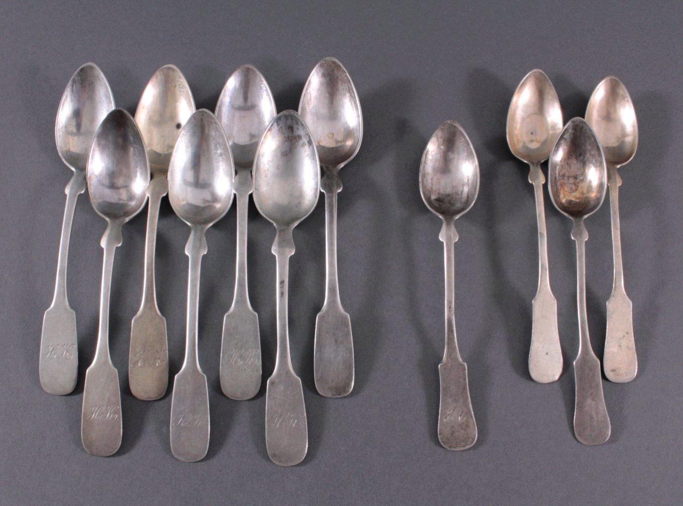 11 Kaffeelöffel, 800er Silber