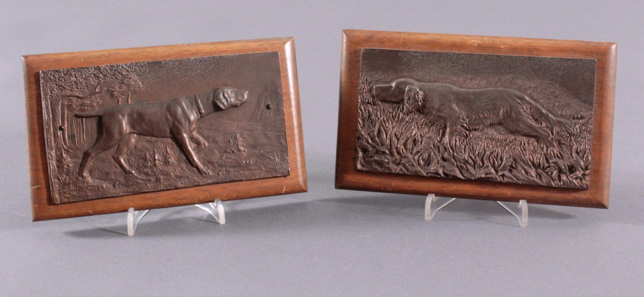 """Paar Bronze Wandrelief. """"Jagdhunden"""""""