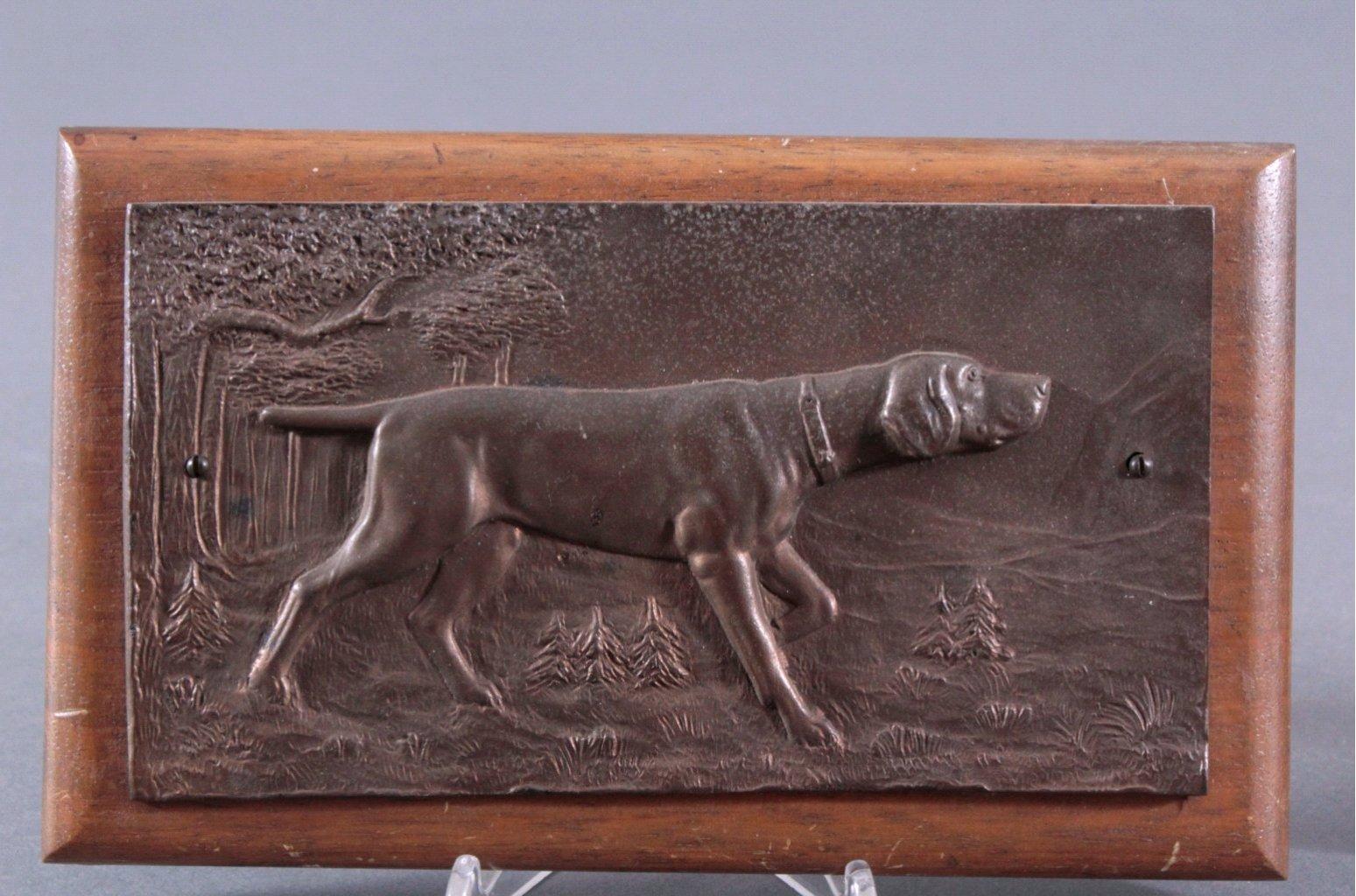 """Paar Bronze Wandrelief. """"Jagdhunden""""-1"""