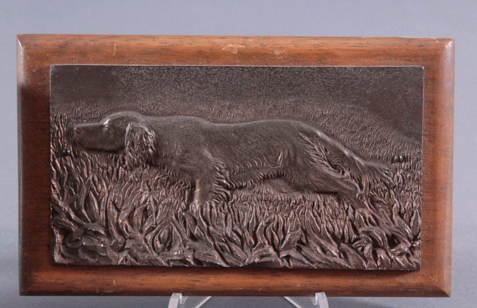 """Paar Bronze Wandrelief. """"Jagdhunden""""-2"""