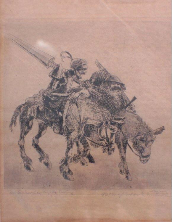 Radierung, Don Quichote / Sancho Pansa, Rudolf Eberle-1