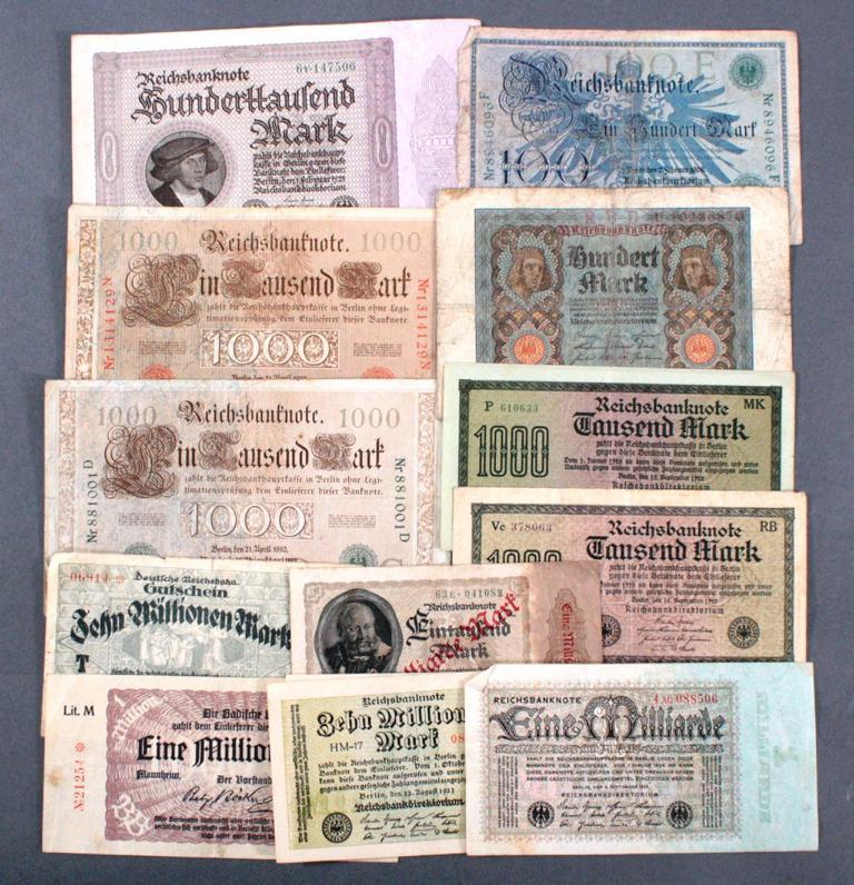 Konvolut Banknoten, Deutsches Reich und Infla