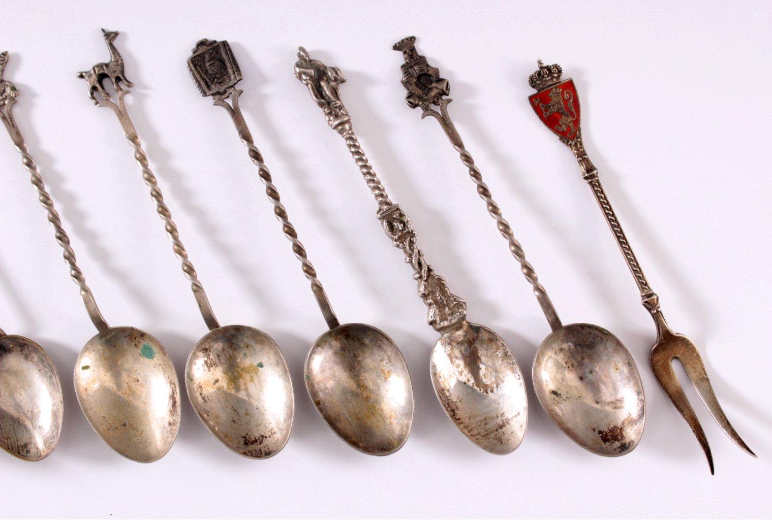 Silberne Städtelöffel und 1 Gabel-2
