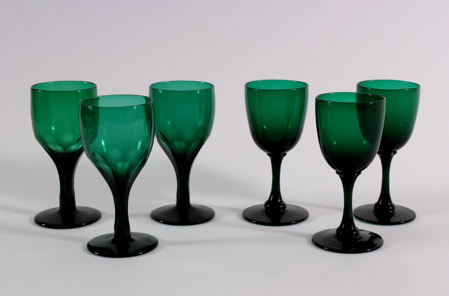 Sechs Gläser, Waldglas 19. Jh.