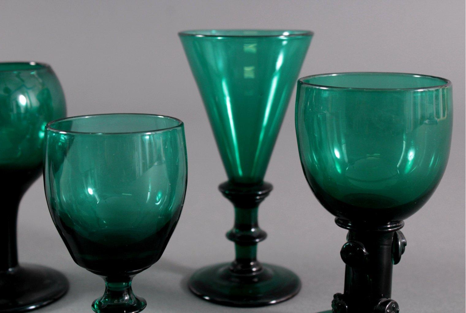 Sechs Gläser, Waldglas 19. Jh.-2