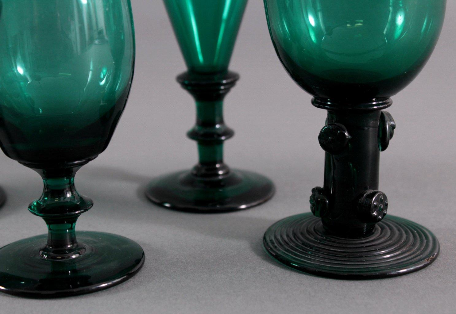 Sechs Gläser, Waldglas 19. Jh.-3