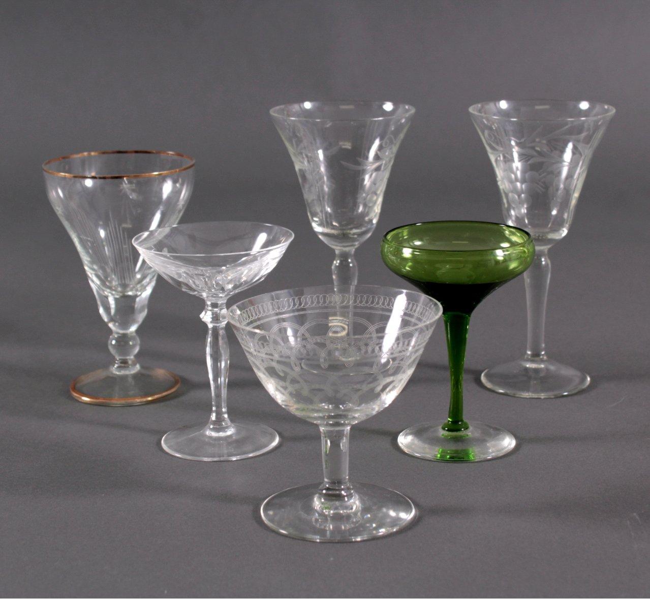 Sechs diverse Trinkgläser, um 1900