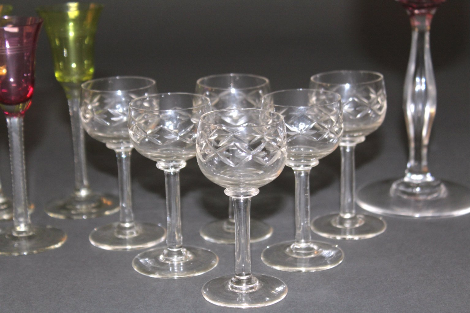 Art Deco Gläser, Wein und Likör