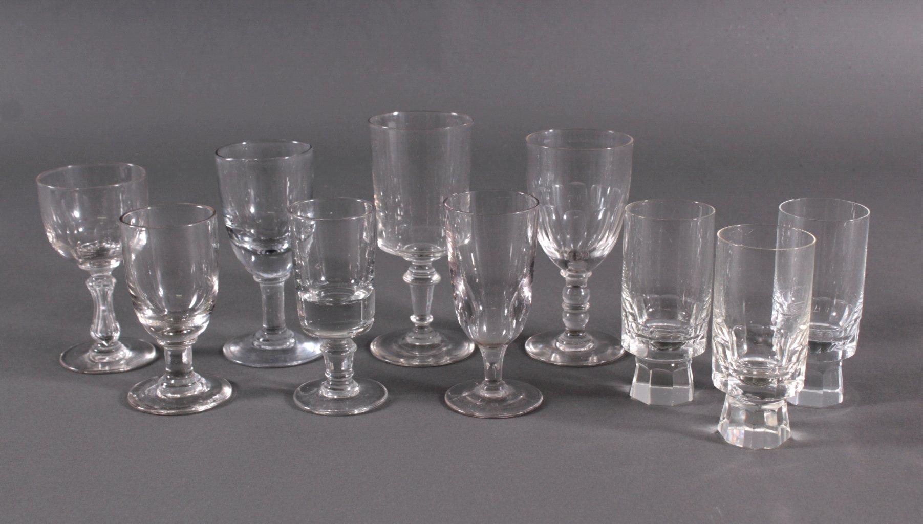 Zehn diverse Gläser, 19./20. Jh.