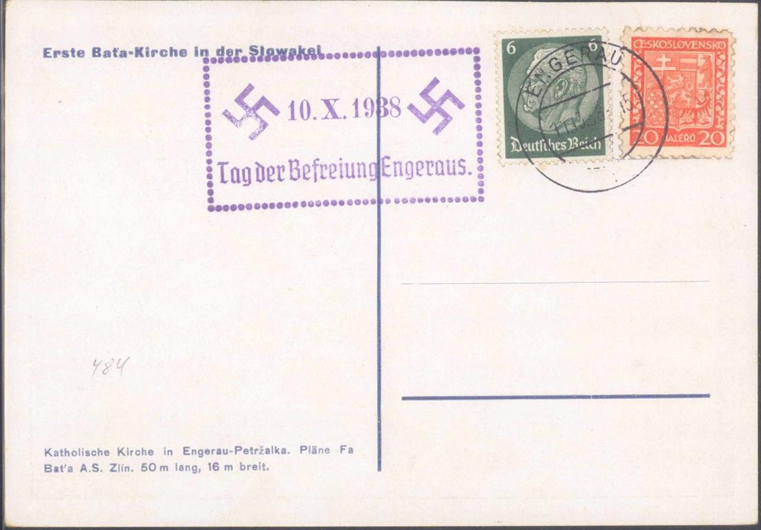 BÖHMEN und MÄHREN, ENGERAU 1938, BAT`A – KIRCHE