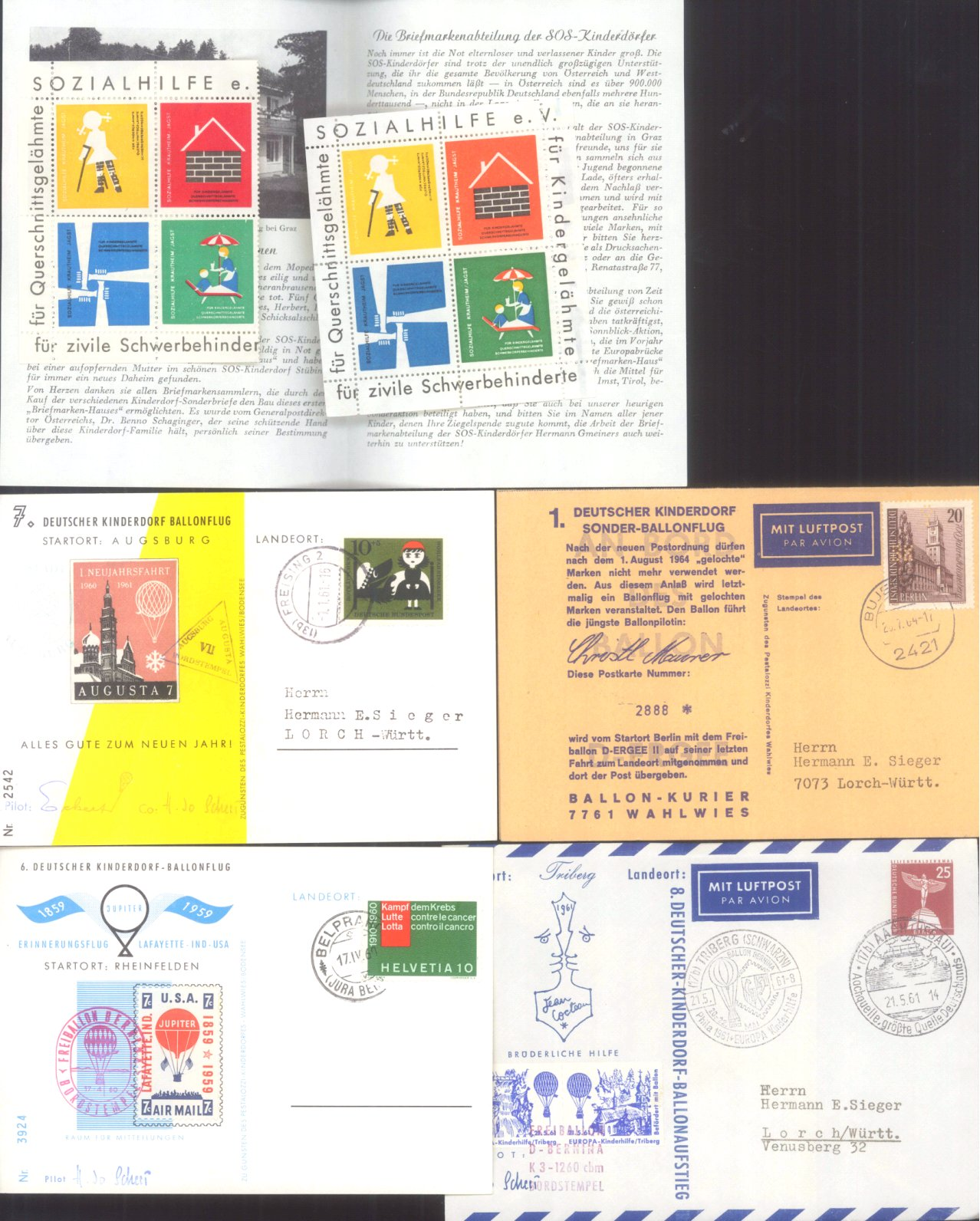 MOTIV BALLONPOST / KINDERDORF BALLONPOST 1952-1972-1