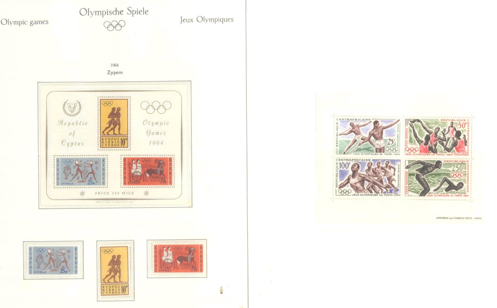 OLYMPISCHE SPIELE 1964 TOKIO, postfrische Sammlung Teil 2-64