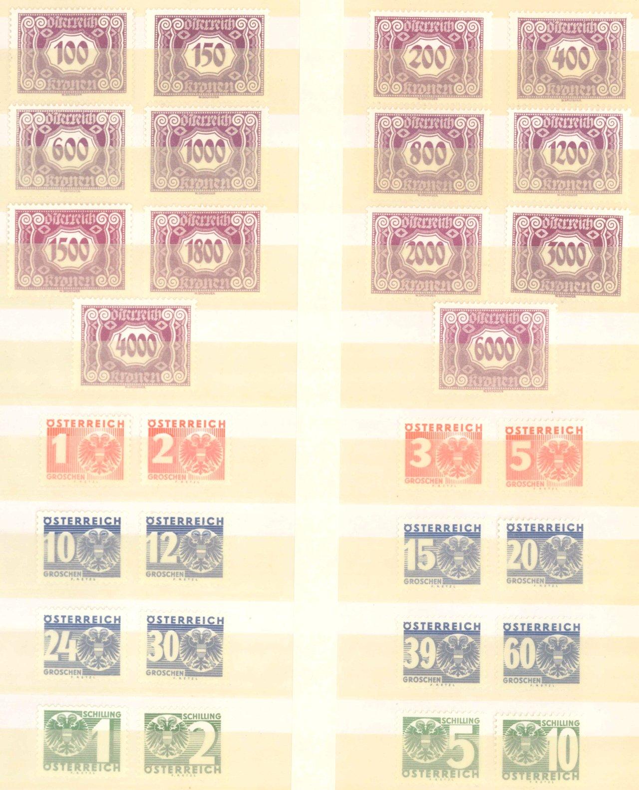 ÖSTERREICH PORTOMARKEN 1922 und 1935