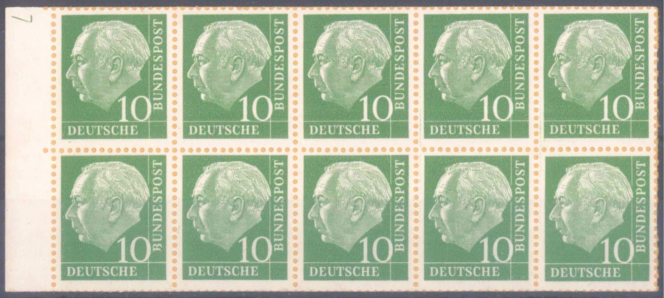 1960 HEUSS H-Blatt 10 f b aus Markenheftchen der NACHAUFLAGE