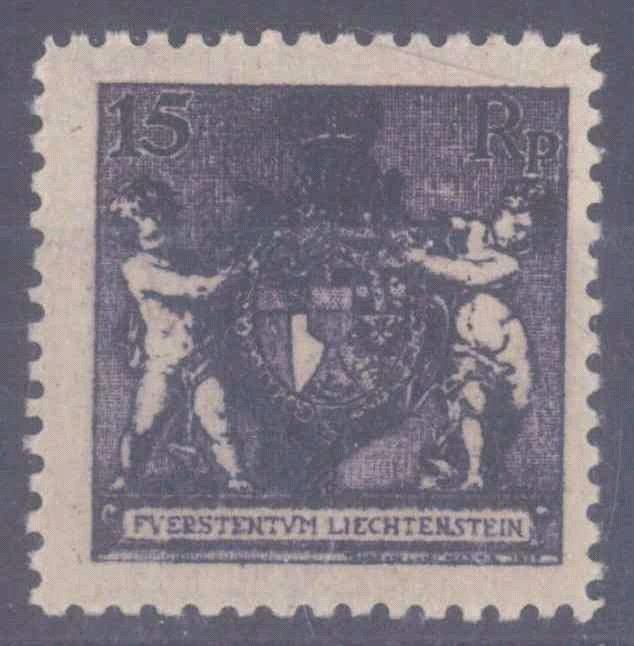 LIECHTENSTEIN 1921, 15 Rappen Landeswappen in Zähnung 12