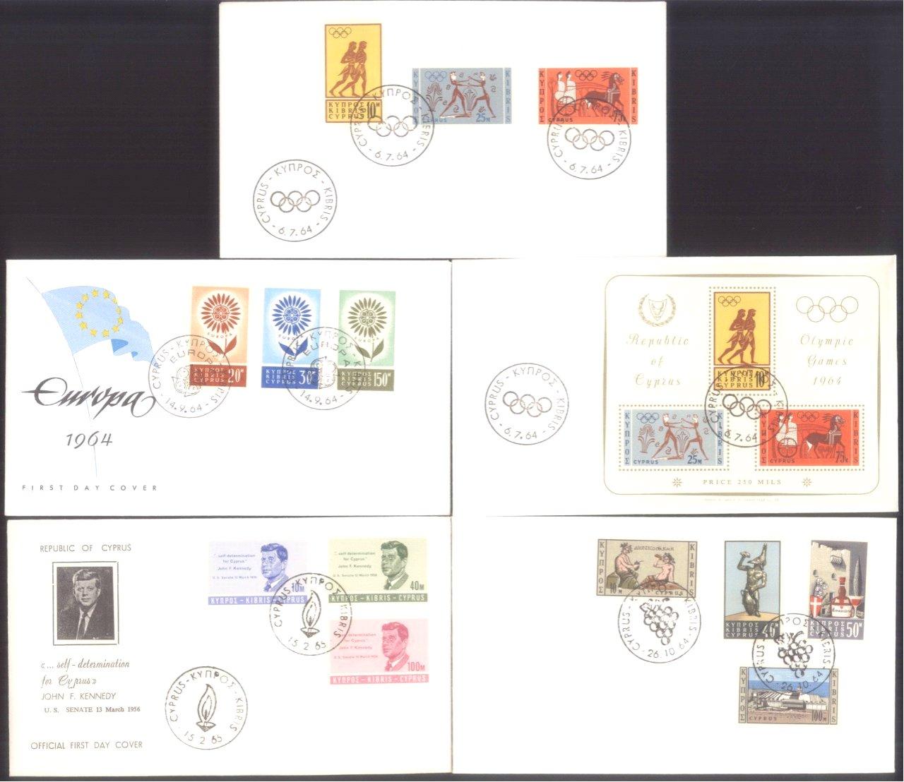 ZYPERN 1964/65, KATALOGWERT 177 EURO, Ersttagsbriefesammlung