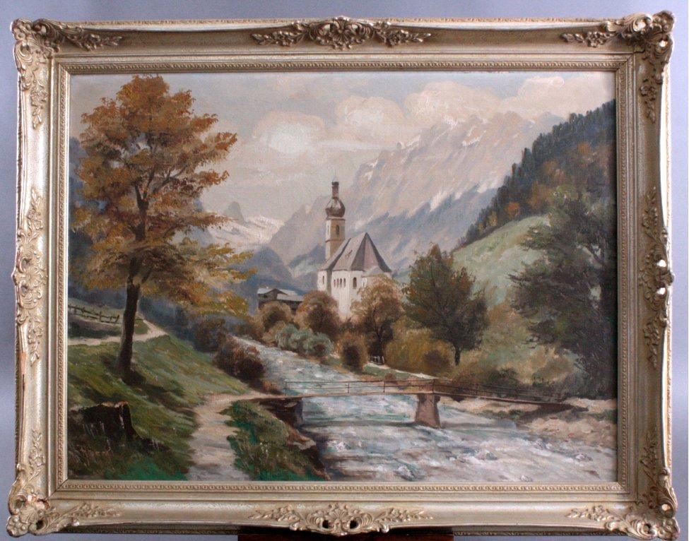 Alpenlandschaft mit Kapelle und Fluss, zweite Hälfte 20. Jh.